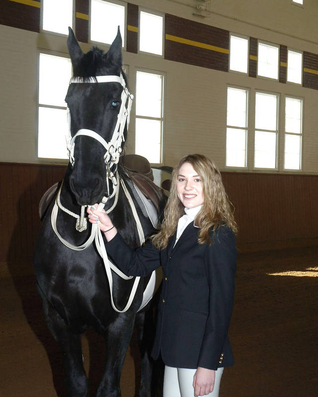 Stephanie Pfeifer of McLoud will be riding in the presidential inaugural parade as a member of the Culver Girls Academy Equestriennes.  PHOTO BY GARY MILLS/  CULVER ACADEMIES