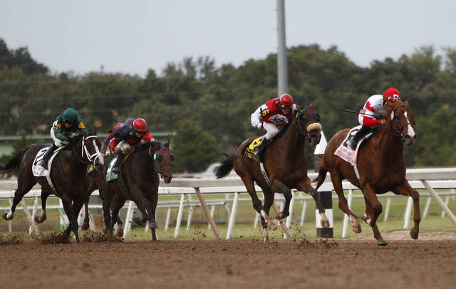 Pleasant Prince and jockey Joel Rosario lead on the way to the win in the Oklahoma Derby horse race at Remington Park in Oklahoma City on Sunday, Oct. 10, 2010.  (AP Photo/Alonzo Adams) ORG XMIT: OKAA105