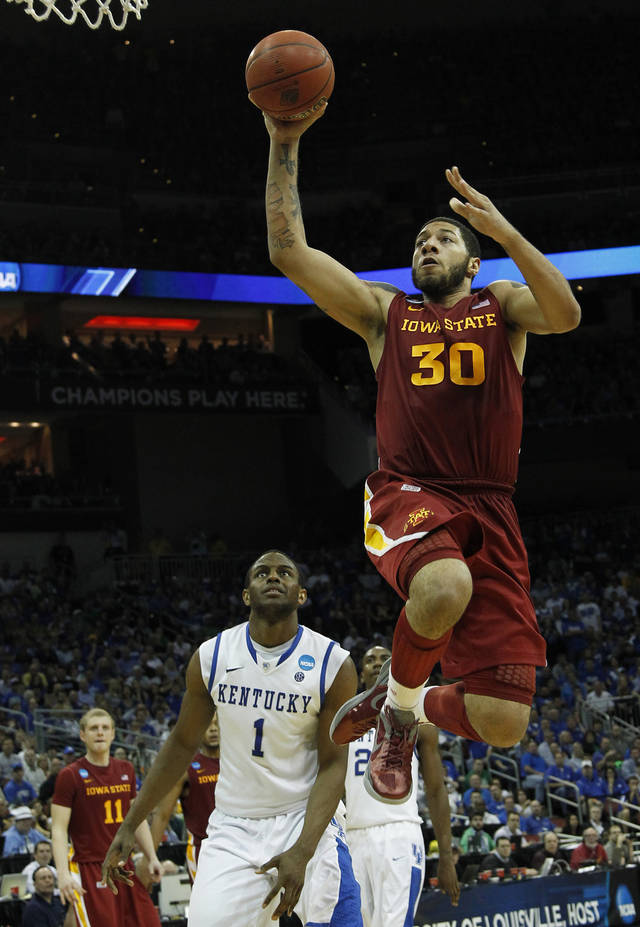 FILE - This March 17, 2012 file photo shows Iowa State forward Royce White (30) shooting the ball as Kentucky guard Darius Miller (1) looks on in the second half of their NCAA third-round tournament college basketball game in Louisville, Ky. White is a possible pick in the NBA Draft on June 28. (AP Photo/Dave Martin, File)