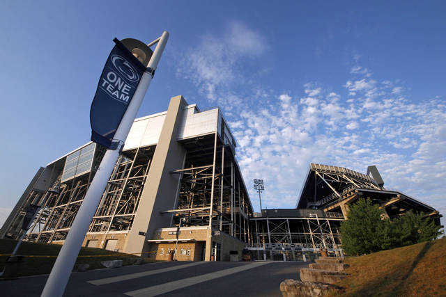 This is Beaver Stadium, home of the Nitany Lions college football team, on the Penn State University main campus in State College. Pa., Monday morning, July 23, 2012. College sports' governing body was expected to deal a series of heavy blows to the Nittany Lions football program on Monday, July 23, 2012, less than two weeks after a devastating report accused coach Joe Paterno and other top university officials of concealing child sex abuse allegations against a retired assistant coach for years to avoid bad publicity. (AP Photo/Gene J. Puskar)