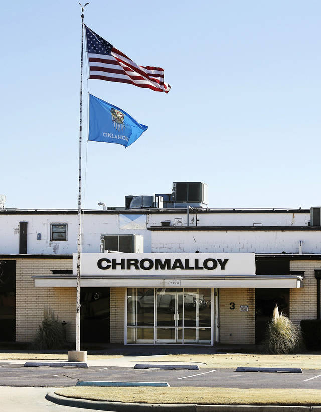 Front entrance on the north side of Chromalloy plant, 1720 National Blvd. in Midwest City, is shown. Photo by Jim Beckel, The Oklahoman