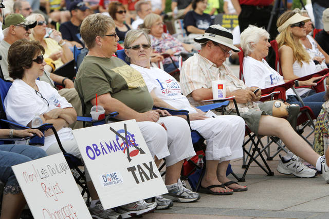 Oklahoma citizens listen to speakers during a healthcare rally on the south steps of the State Capitol building in Oklahoma City, OK, Saturday, July 7, 2012,  By Paul Hellstern, The Oklahoman