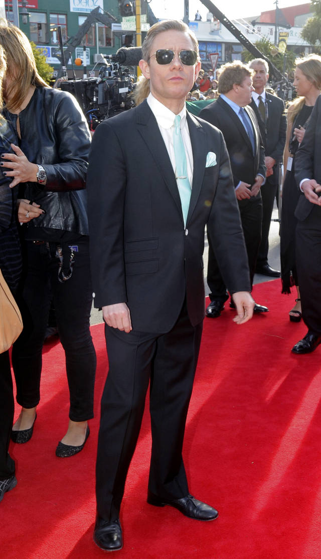 "Martin Freeman who plays Bilbo Baggins poses on the red carpet for the premiere of ""The Hobbit: An Unexpected Journey,"" at Embassy Theatre in Wellington, New Zealand, Wednesday, Nov. 28, 2012. (AP Photo/SNPA, Ross Setford) NEW ZEALAND OUT"