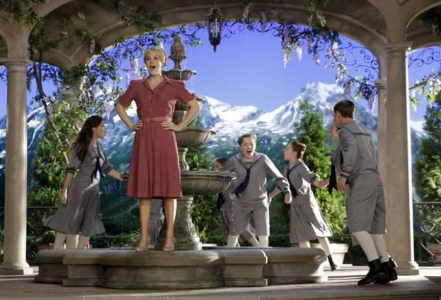 "This image released by NBC shows Carrie Underwood, foreground, as Maria, during preparations for ""The Sound of Music Live!, in Bethpage, N.Y."