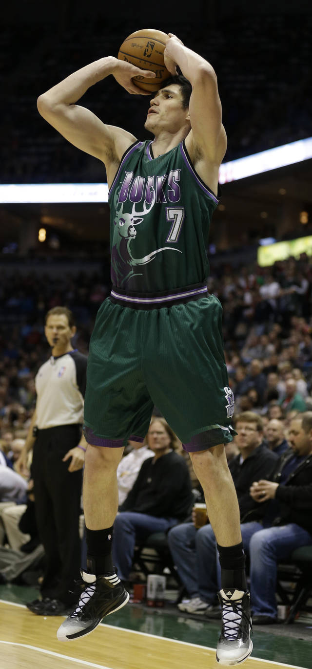 Milwaukee Bucks' Ersan Ilyasova shoots against the Toronto Raptors during the second half of an NBA basketball game Saturday, March 2, 2013, in Milwaukee. (AP Photo/Jeffrey Phelps)