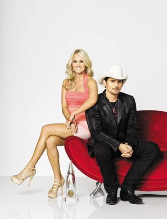 "Brad Paisley and Carrie Underwood host ""The 45th Annual CMA Awards,"" – Country Music's Biggest Night – on WEDNESDAY, NOVEMBER 9, 2011 (8:00–11:00 p.m., ET) on the ABC Television Network. This is the fourth time Paisley and Underwood will host the CMA Awards. (2008, 2009, 2010, 2011) (photo: BOB D'AMICO / ABC)."