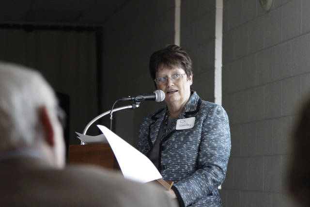 Di Smalley, regional president of Mercy�s west communities, speaks at a community round table Tuesday in Watonga. The hospital hosted the round table to hear what services residents wanted to see brought to Watonga Hospital Mercy, a recent addition to the Mercy network. Photo by Jaclyn Cosgrove, The Oklahoman