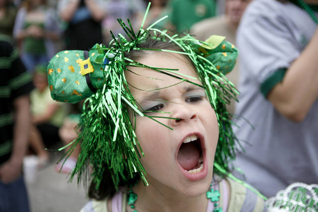 Aubree Hopkins, 8, shouts during the annual St. Patrick's Day Parade in downtown Oklahoma City, Saturday, March 17, 2012. Photo by Bryan Terry, The Oklahoman