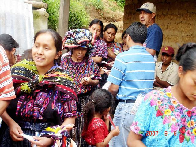 A group of Guatemalans wait outside a medical clinic run by a group of Oklahomans in a village in 2007 as part of a medical missionary trip. PHOTO PROVIDED
