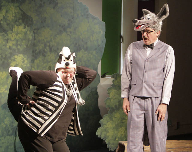 "Anna Marie Bardrick, as the skunk, talks to the Wolf, played by Jon Womastek in the Oklahoma Children's Theatre production of ""Red vs. the Wolf"", at the Children's Center for the Arts in Oklahoma City, OK, Saturday, March 10, 2012,  By Paul Hellstern, The Oklahoman"