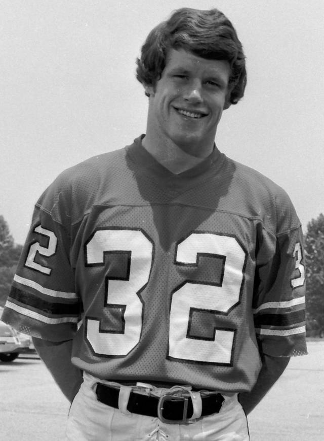 "FILE - In this July, 1975 file photo, Atlanta Falcons safety Ray Easterling is shown. A concussion-related lawsuit bringing together scores of cases has been filed in federal court, accusing the NFL of hiding information that linked football-related head trauma to permanent brain injuries. Lawyers for former players say more than 80 pending lawsuits are consolidated in the ""master complaint"" filed Thursday, June 7, 2012, in Philadelphia. Mary Ann Easterling will remain a plaintiff despite the April suicide of her husband, Ray, who had been a named plaintiff in a suit filed last year. (AP Photo/File)"