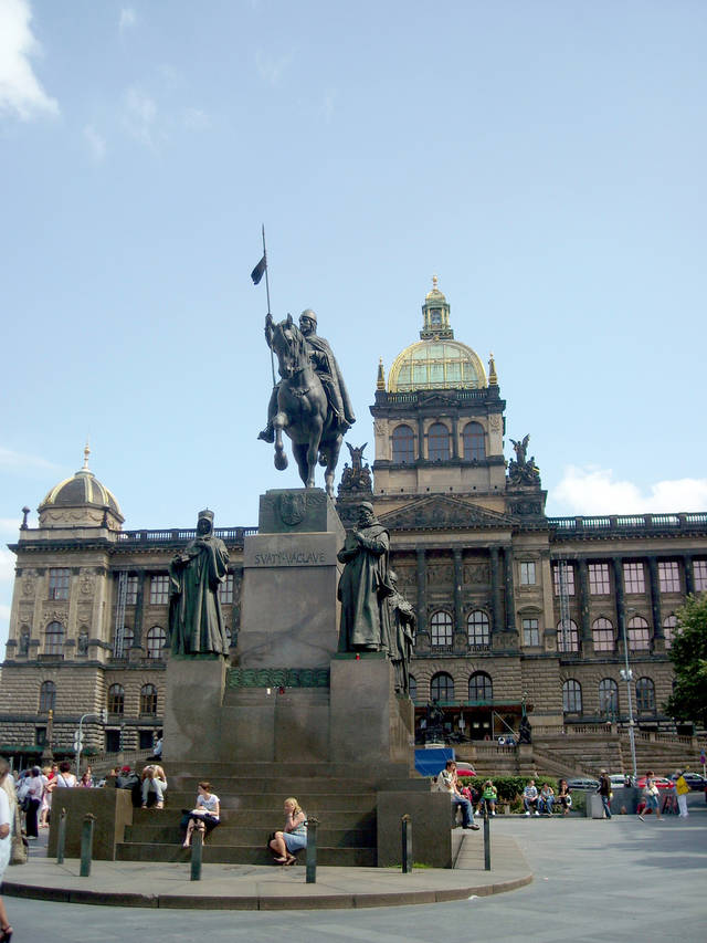 The main square in Prague�s New Town Quarter, Wenceslas Square has been center-stage for much of modern Czech history � and its big equestrian statue is a can�t-miss-it place to meet up with friends. (Photo by Lauren Mills)