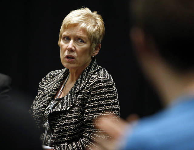 State School Superintendent Janet Barresi meets for lunch with about 20 Norman High and Norman North High School students as part of her Raise the Grade tour on Friday, Feb. 8, 2013 in Norman, Okla.  Photo by Steve Sisney, The Oklahoman