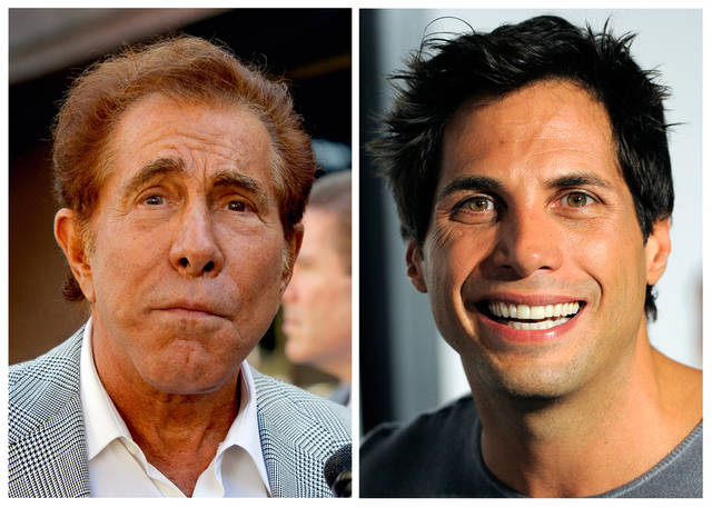 "FILE - This photo combination of file photos shows casino mogul Steve Wynn, left, in Los Angeles, and ""Girls Gone Wild"" founder Joe Francis, in Los Angeles. A judge has cut casino mogul Steve Wynn's slander verdict against ""Girls Gone Wild"" founder Joe Francis by $21 million, more than half of the original $40 million jury verdict. A jury found that Francis slandered Wynn when he claimed the casino mogul threatened to kill him and bury him in the desert. (AP Photo/Nick Ut, Chris Pizzello, file)"