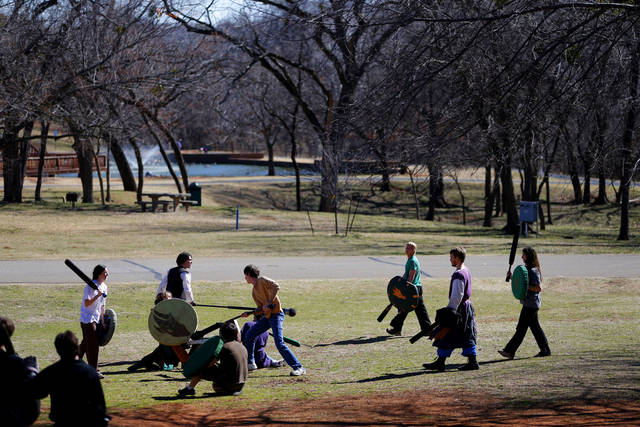 A group of people practice Dagorhir at Hafer Park in Edmond, Okla., Saturday, Feb. 16, 2013. A group of Dagorhir players meet every Saturday in Hafer park to practice the game that involves battling with foam weapons. Photo by Bryan Terry, The Oklahoman
