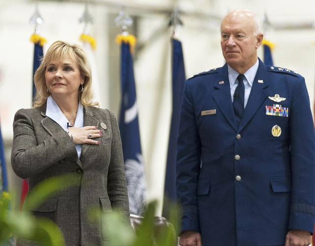 Oklahoma Gov. Mary Fallin stands with Air Force Lt. Gen. Harry M. Wyatt III, the director of the Air National Guard, during Wyatt's retirement ceremony Tuesday at Joint Base Andrews, Md.  Photo by U.S. Air Force Master Sgt. Marvin Preston