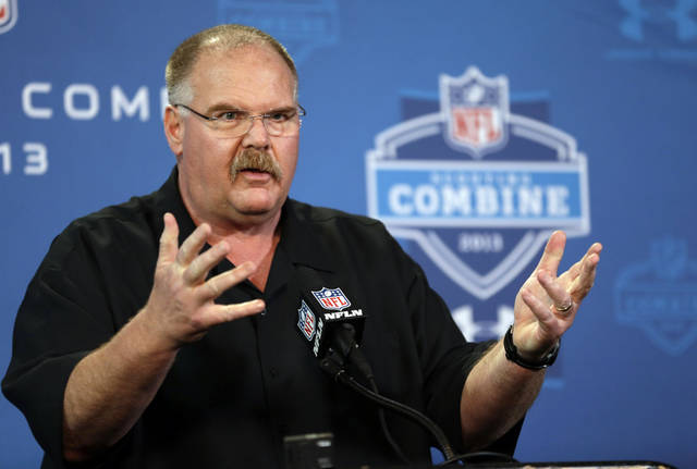 Kansas City Chiefs head coach Andy Reid answers a question during a news conference at the NFL football scouting combine in Indianapolis, Thursday, Feb. 21, 2013. (AP Photo/Michael Conroy)
