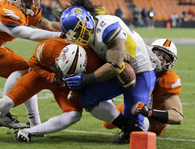 San Jose State running back Ina Liaina (42) loses control of the ball as he is hit by Bowling Green defensive back Cameron Truss, left, and linebacker Paul Swan during the second half of the Military Bowl NCAA college football game at RFK Stadium Thursday, Dec. 27, 2012 in Washington. The ball rolled out of the end zone but was ruled that Liaina was down at the 3 yard line. The  Spartans won 29-20. (AP Photo/Alex Brandon)
