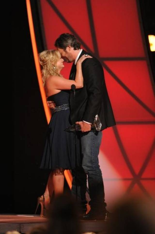 Tishomingo residents Miranda Lambert and Blake Shelton accept the song of the year award during Thursday's CMA Awards in Nashville, Tenn. Photo by Donn Jones/CMA.