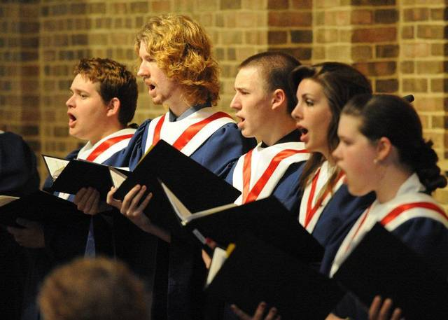 The Festival of Lessons and Carols features seasonal music and the blessing and lighting of Christmas lights in front of Benedictine Hall. Photo by Bro. George Hubl
