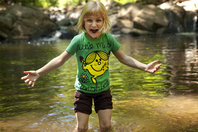 Lori Anne Madison, 6, of Lake Ridge, Va., reacts to the cold water Friday while playing with friends in a park in McLean, Va. Lori Anne is the youngest contestant in the 2012 National Spelling Bee. AP PHOTO