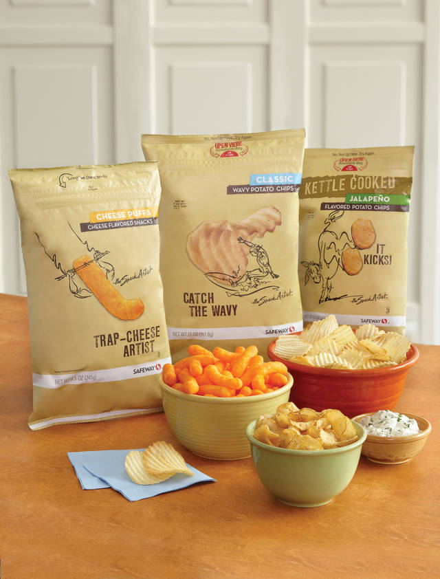 "This product image provided by Safeway shows its ""Snack Artist"" brand of snacks. Supermarkets including Kroger, Safeway and Whole Foods are improving the image of their store brands with better packaging and more distinctive offerings. (AP Photo/Safeway)"
