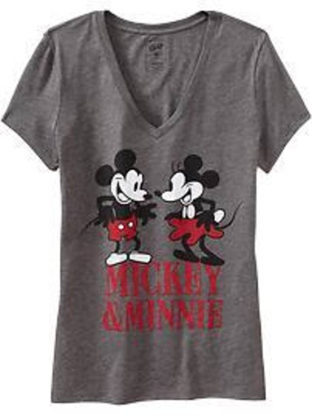 A Mickey and Minnie women's T-shirt availalble at Old Navy.