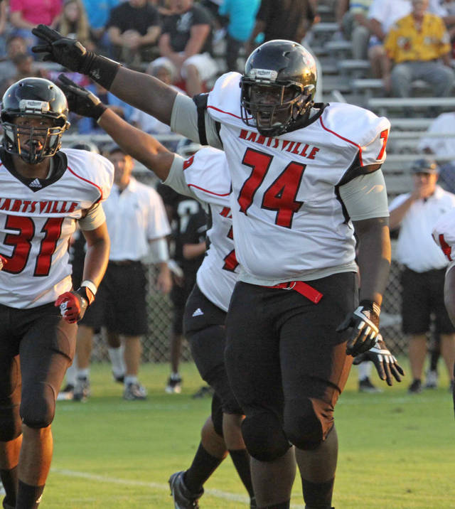 Ronald Rouse, a 6-3, 330-pound defensive lineman for the Hartsville Red Foxes, collapsed on the sidelines and died during the Friday Oct.5, 2012 game against Crestwood. He had 20 tackles and 3 sacks this season for the top-ranked Red Foxes. (AP Photo/Bob Sloan, Florence Morning News)