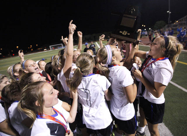 Deer Creek celebrates during the girls 5A soccer state championship game between Deer Creek and Carl Albert at Edmond North High School in Edmond, Okla., Saturday, May 12, 2012. Photo by Sarah Phipps, The Oklahoman