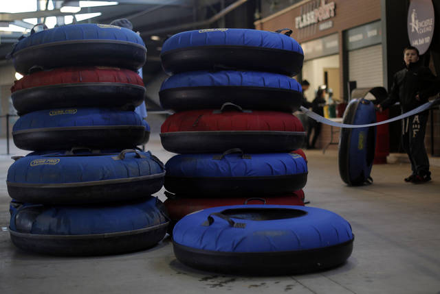 Tubes stacked at Chickasaw Bricktown Ballpark in Oklahoma City, Saturday, Nov. 24, 2012.  Photo by Garett Fisbeck, The Oklahoman