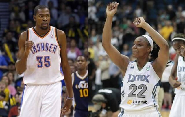 Kevin Durant, left, and Monica Wright are engaged. Photo by Sarah Phipps, The Oklahoman/AP PHOTOS