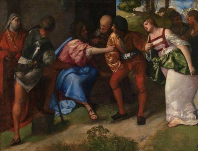 """Christ and the Adulteress,"" circa 1508-10, by Titian, is featured in the exhibit ""Of Heaven and Earth: 500 Years of Italian Painting from Glasgow Museums"" at the Oklahoma City Museum of Art. Photo provided by American Federation of Arts"