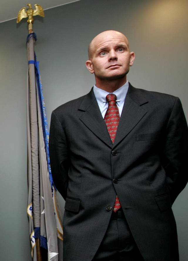   In this July 27, 2005 photo, FBI agent Frederick Humphries appears during a news conference after the sentencing of Ahmed Ressam at the Federal Courthouse in Seattle. Humphries has been identified as the agent socialite Jill Kelley contacted to complain about harassing emails sent by Gen. David Petraeus&#039; paramour, Paula Broadwell. (AP Photo/Kevin P. Casey)  