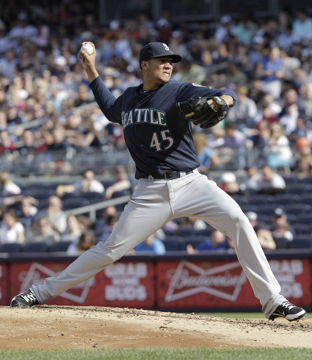 Seattle Mariners pitcher Hector Noesi throws in the third inning of a baseball game against the New York Yankees on Saturday, May 12, 2012 in New York. (AP PhotoPeter Morgan)
