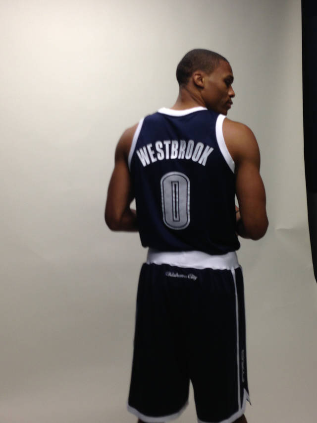 Russell Westbrook in the Oklahoma City Thunder's alternate uniform. Photo provided by Oklahoma City Thunder.