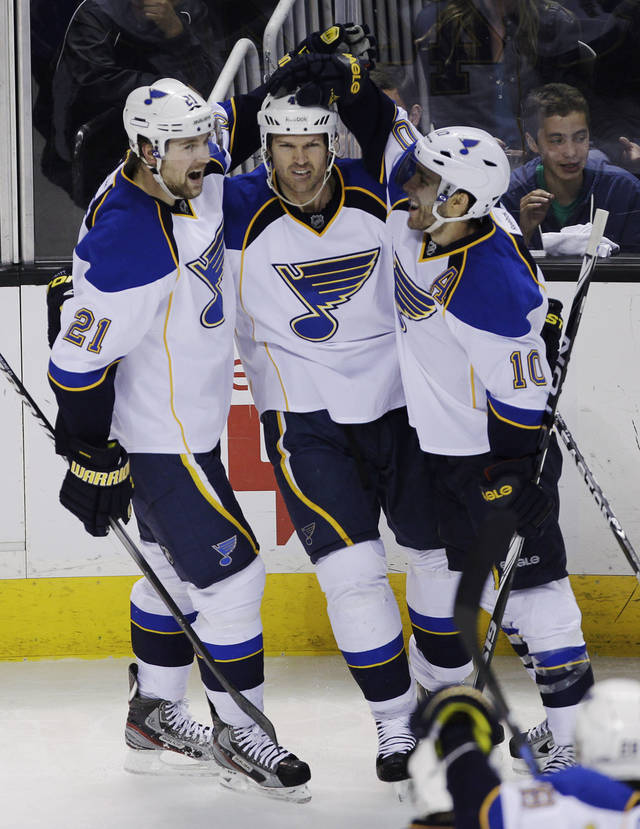 St. Louis Blues center Jason Arnott, center, is congratulated by center Andy McDonald (10) and center Patrik Berglund (21) after scoring past the San Jose Sharks during the second period in Game 3 of an NHL Stanley Cup first-round hockey playoff series, Monday, April 16, 2012 in San Jose, Calif. All three scored during the game. (AP Photo/Paul Sakuma)