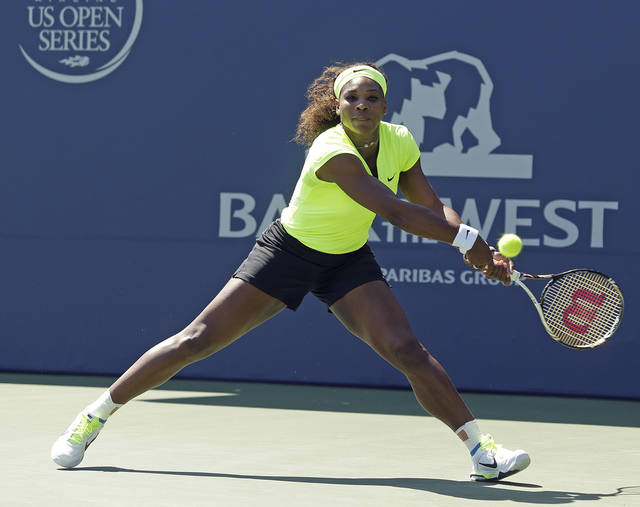 Serena Williams returns to Nicole Gibbs during the Bank of the West tennis tournament on Wednesday, July 11, 2012 in Stanford, Calif. Williams won the match 6-2, 6-1. (AP Photo/Marcio Jose Sanchez)