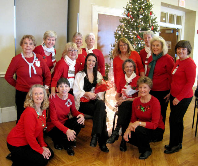 Members of the Senior Sensations tap group are, front row, from left, Nancy Powell, Marilyn Copenhaver, Becky Schroeder, teacher and choreographer; Ann Shanks and Jan Fraase. Back row, from left, Betty Windsor, Linda Nance, Debi Churchwell, Bonnie Williams, Norma Fredricks, Malinda Beck, Alice Niemeyer, Chris Shaffer and Katherine Schlageter.  Photo provided by Senior Sensations