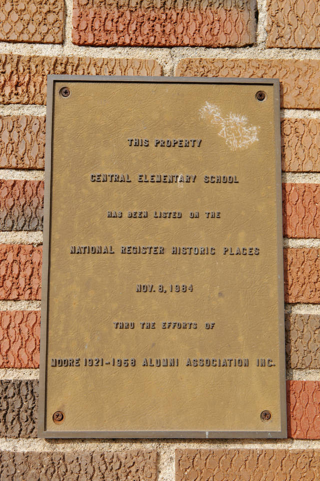 Plaque at the entrance to the 1928 Moore school building, 201 N Broadway, in Moore Thursday, Feb. 16, 2012. Photo by Paul B. Southerland, The Oklahoman