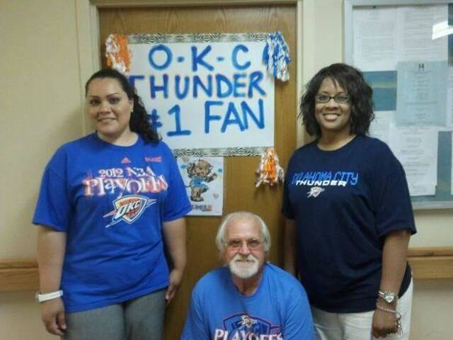 In Altus, Okla., Plantation Village Nursing Center employees Annie Fowler, Jimmy Elkins and Nancy Boone get ready to Thunder Up for the NBA finals. Residents also are holding watch parties and competing for Thunder T-shirts in bingo games.