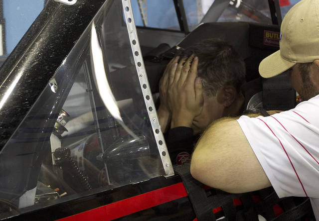 Cale Gale reacts in his car after winning the NASCAR Nationwide Truck Series auto race on Friday, Nov. 16 2012, at Homestead-Miami Speedway in Homestead, Fla. (AP Photo/J Pat Carter)