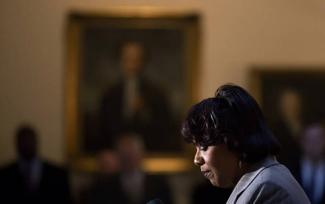 Bernice King, the daughter of Rev. Martin Luther King Jr., speaks during a service celebrating his birthday inside the Georgia State Capitol, Thursday, Jan. 17, 2013, in Atlanta. (AP Photo/David Goldman)