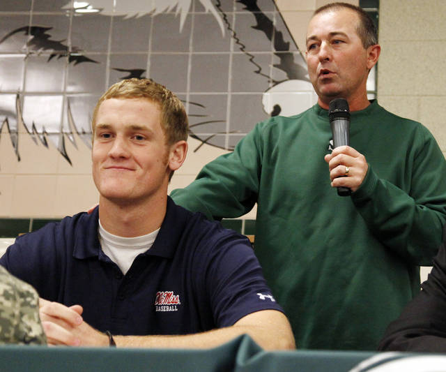 Edmond Santa Fe baseball coach Lonny Cobble talks about Ty Hensley during a signing ceremony for student athletes at Edmond Santa Fe High School in Edmond, Okla., Wednesday, Nov. 9, 2011. Hensley has signed with Ole Miss to play baseball. Photo by Nate Billings, The Oklahoman