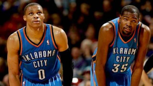 Pundits are questioning whether the Thunder's two-man show of Russell Westbrook, left, and Kevin Durant can get Oklahoma City back to the NBA Finals. GETTY IMAGES.