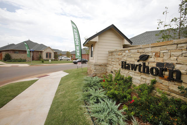 The entrance to Hawthorn, a neighborhood under way by Johnston Builders in The Village, is west off N Pennsylvania south of Hefner Road behind The Village Library. Photos by David McDaniel, The Oklahoman