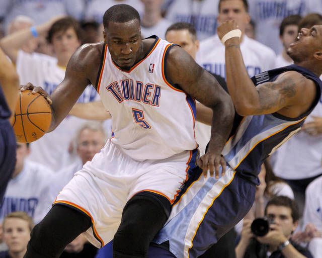 Oklahoma City's Kendrick Perkins (5) runs into Darrell Arthur (00) of Memphis during game five of the Western Conference semifinals between the Memphis Grizzlies and the Oklahoma City Thunder in the NBA basketball playoffs at Oklahoma City Arena in Oklahoma City, Wednesday, May 11, 2011. Photo by Bryan Terry, The Oklahoman