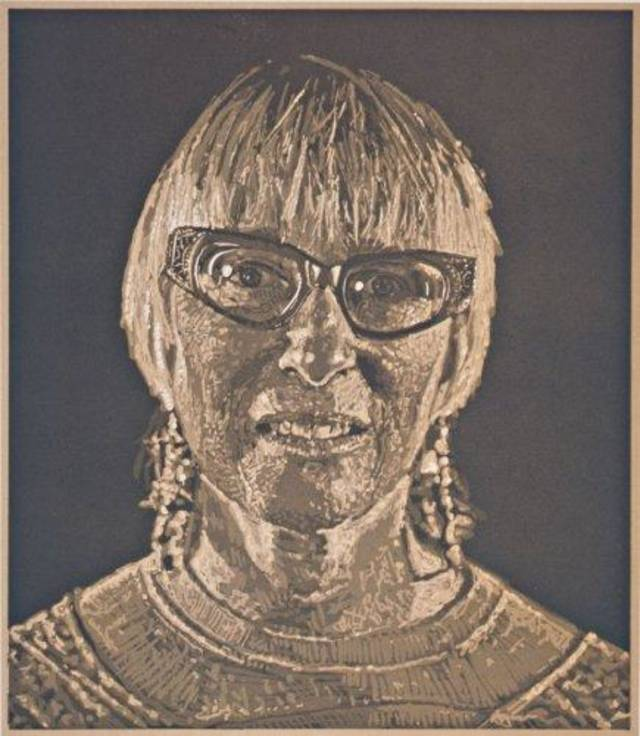 """Janet, edition PP I, 1988,"" reduction block linocut, by Chuck Close, is featured in ""Chuck Close: Works on Paper."" Photo provided."