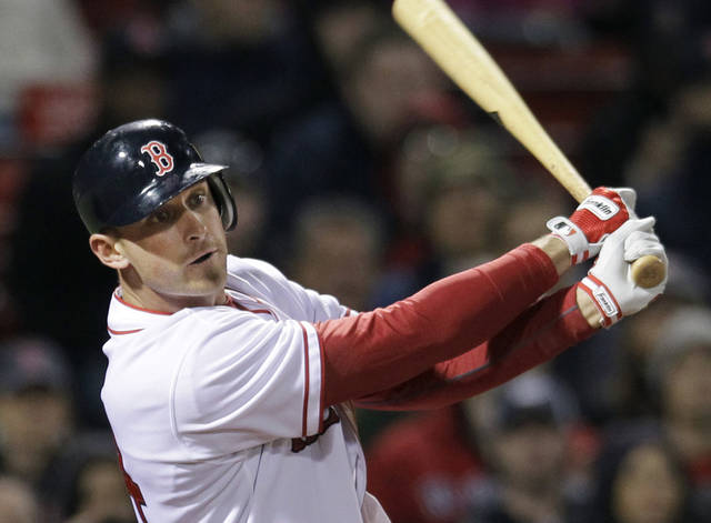 Boston Red Sox's Will Middlebrooks watches his double against the Oakland Athletics during the seventh inning of a baseball game at Fenway Park in Boston, Wednesday, May 2, 2012. (AP Photo/Elise Amendola)