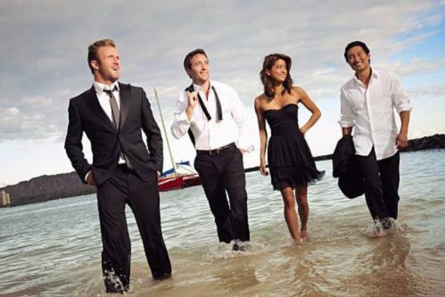 "From left, Scott Caan, Alex O'Loughlin, Grace Park, and Daniel Dae Kim of ""Hawaii Five-0"" - CBS Photo by Art Streiber"