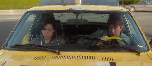 From left, Aubrey Plaza and Mark Duplass appear in a scene from &acirc;Safety Not Guaranteed.&acirc; FilmDistrict photo